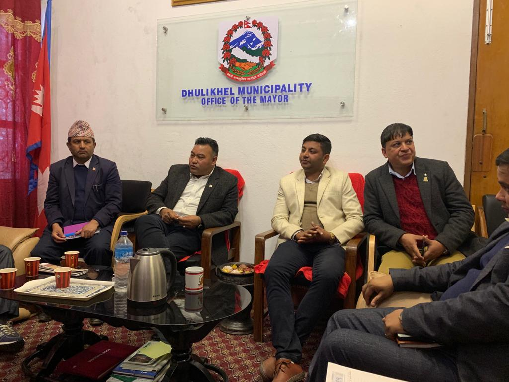 Photo of a meeting with Dhulikhel municipality